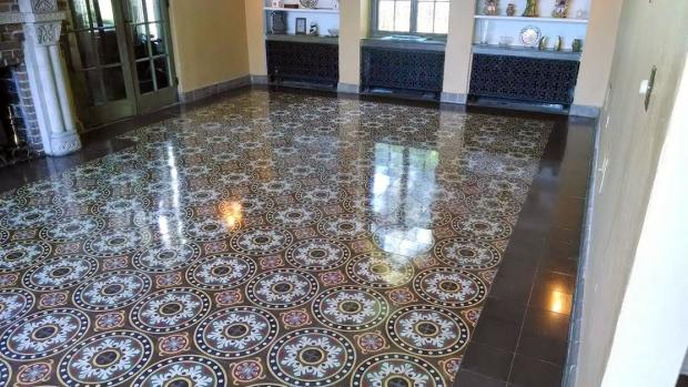 109 year old tarrazzo floor restored by ashford services